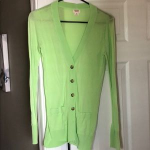 Bright green cardigan
